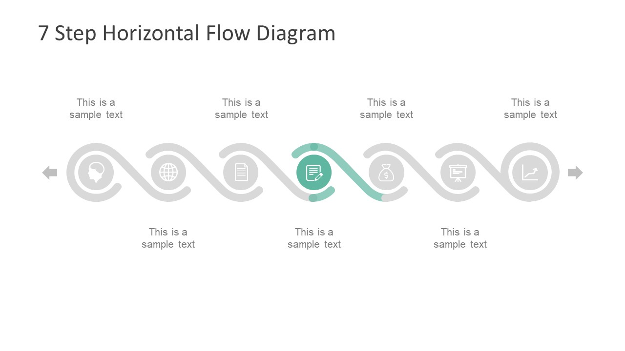 7 step horizontal flow diagram for powerpoint