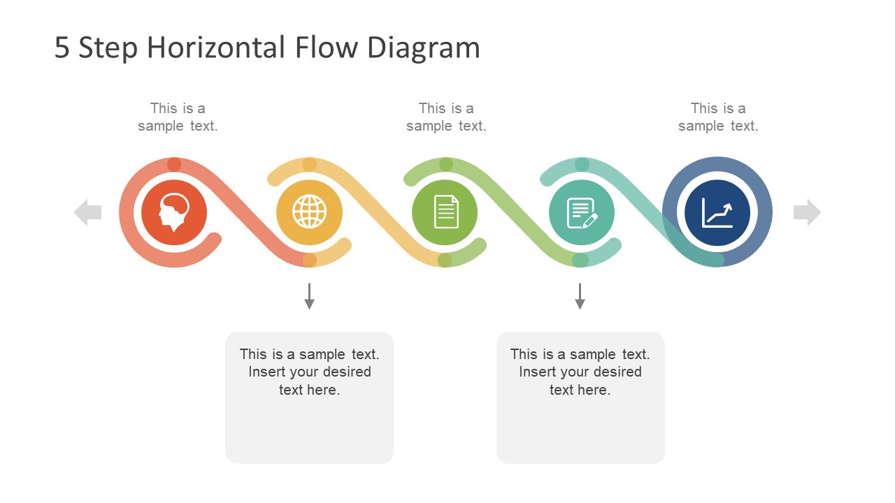 5 Step Horizontal Flow Diagram For Powerpoint Slidemodel