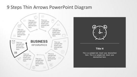 Thin Arrows Process Flow Chart Slide