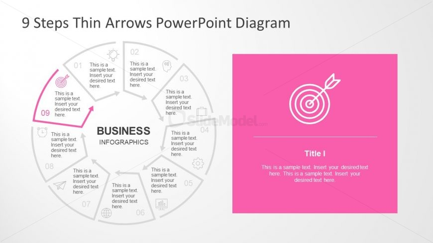PowerPoint Diagram of 9 Step Process Flow