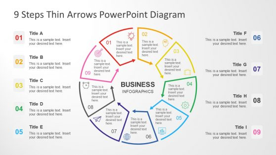PowerPoint Circular Thin Arrow Diagram