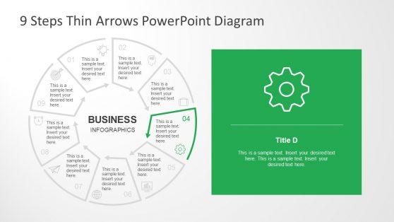 Thin Arrows in Circular Diagram Slide