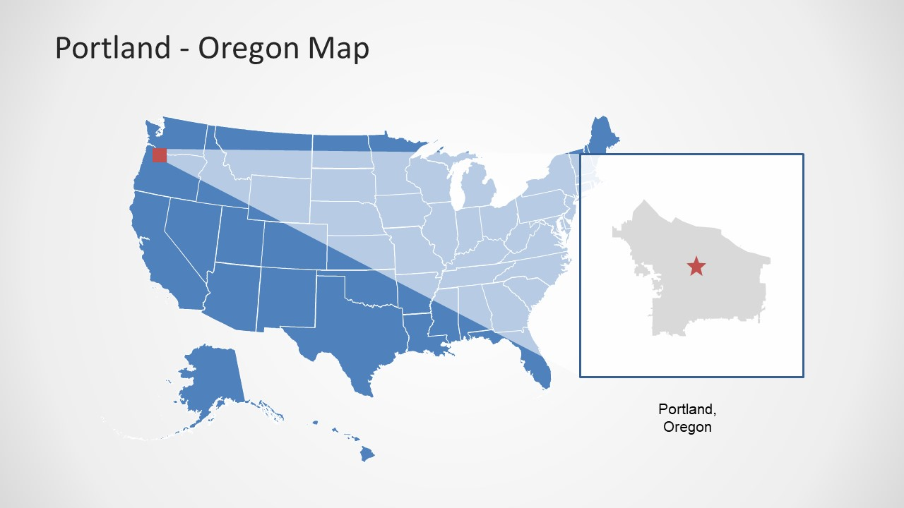 oregon state powerpoint template - portland oregon powerpoint map slidemodel