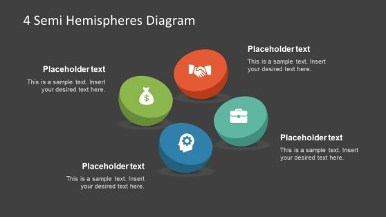 Semi Hemisphere 4 Steps PowerPoint