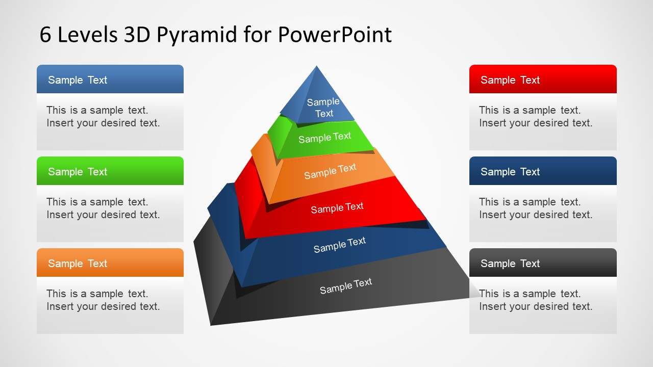 6 levels 3d pyramid template for powerpoint slidemodel