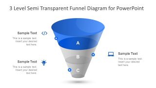 3 Level Semi Transparent Funnel Diagram for PowerPoint