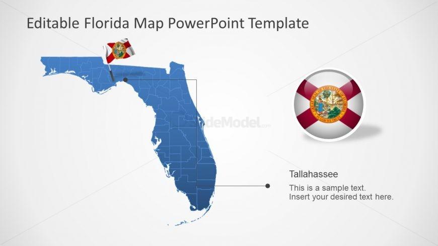 Flag and Blue Editable Florida Map
