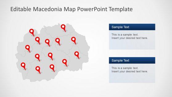 Gray Macedonia Map PowerPoint