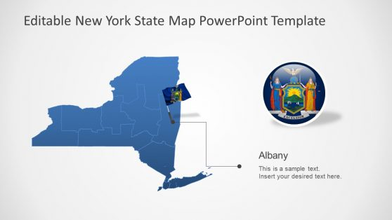 PowerPoint Flag Pole Silhouette New York Map