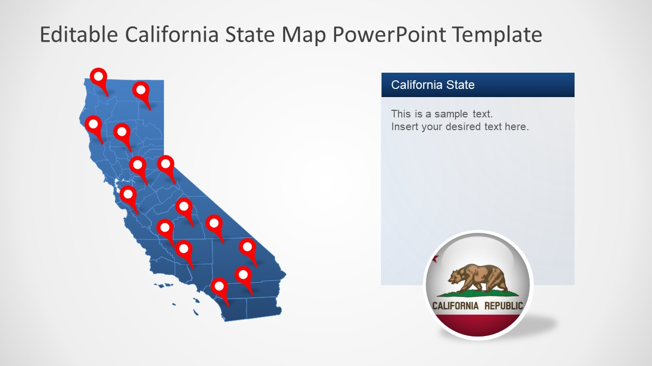 California State PowerPoint Map Template
