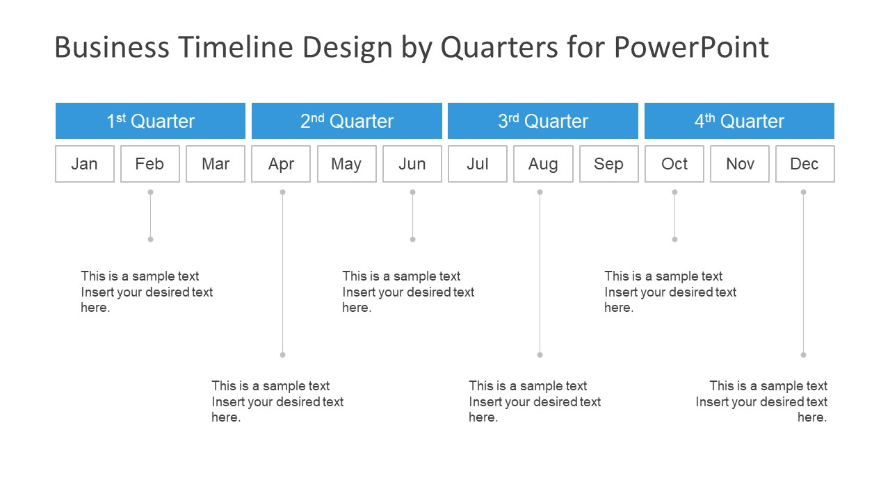 business timeline design by quarters for powerpoint