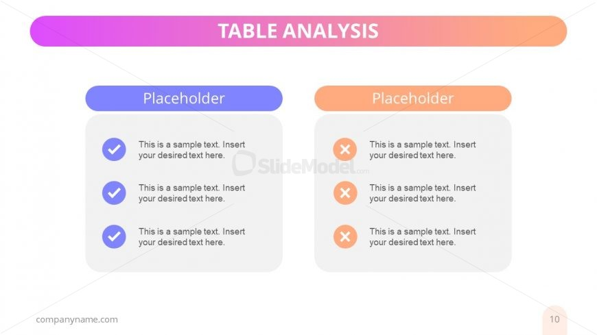 Editable Analysis and Comparison Chart