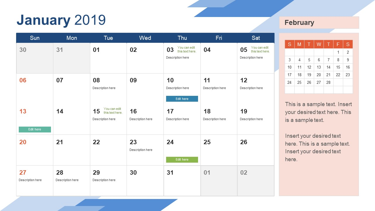 january powerpoint calendar 2019