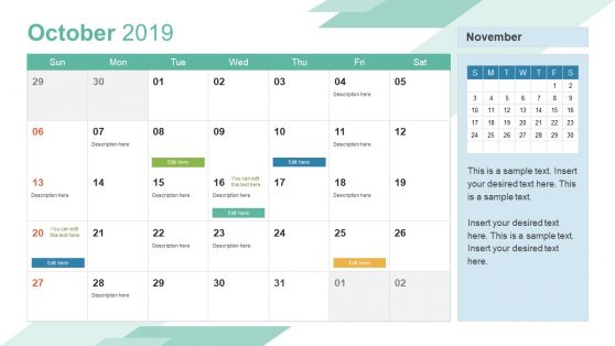 October PowerPoint Calendar 2019
