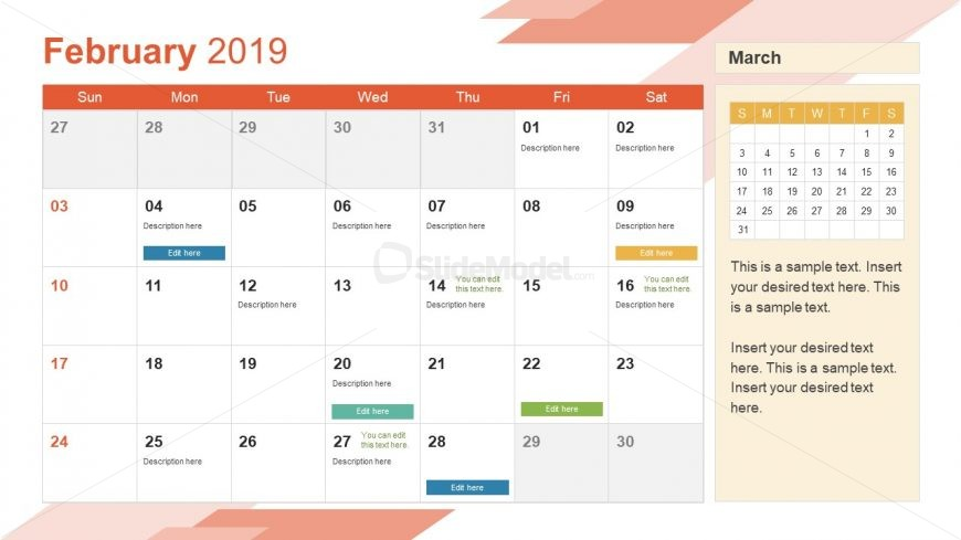 Monthly Calendar 2019 Template February