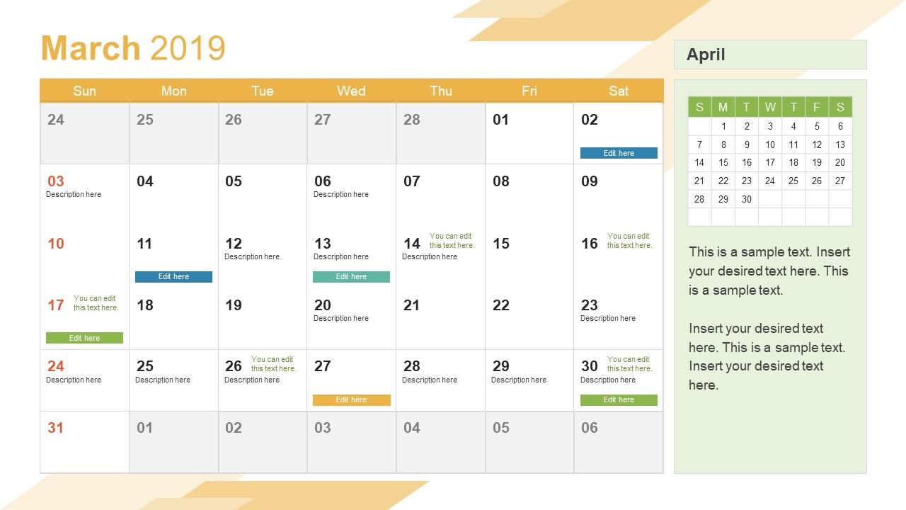 march powerpoint calendar 2019