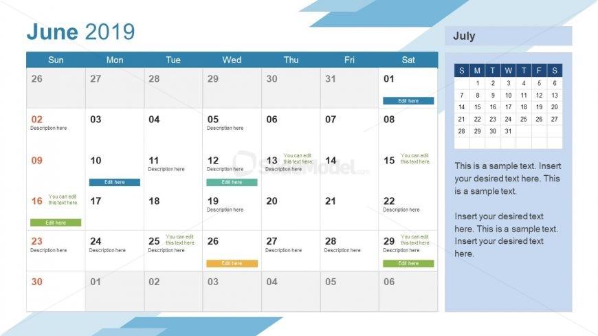 Monthly Calendar 2019 Template June