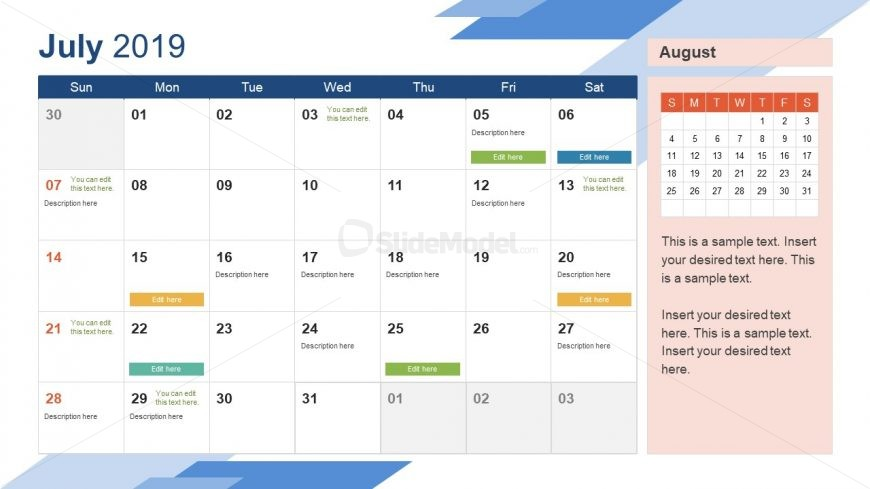 Monthly Calendar 2019 Template July