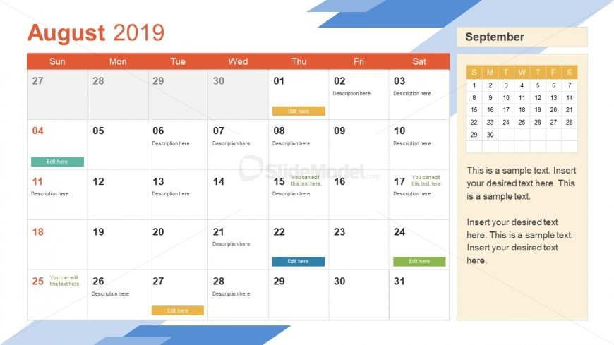 Monthly Calendar 2019 Template August