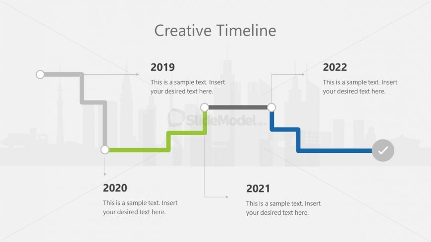 PPT 5 Milestones Horizontal Timeline