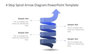 4 Step Spiral Arrow Diagram PowerPoint Template
