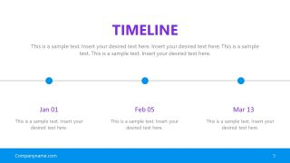3 Steps Horizontal Timeline PPT
