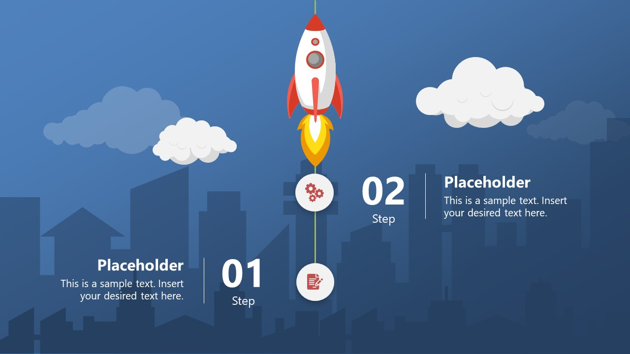 Infographic Rocket Roadmap with Skyscrapers