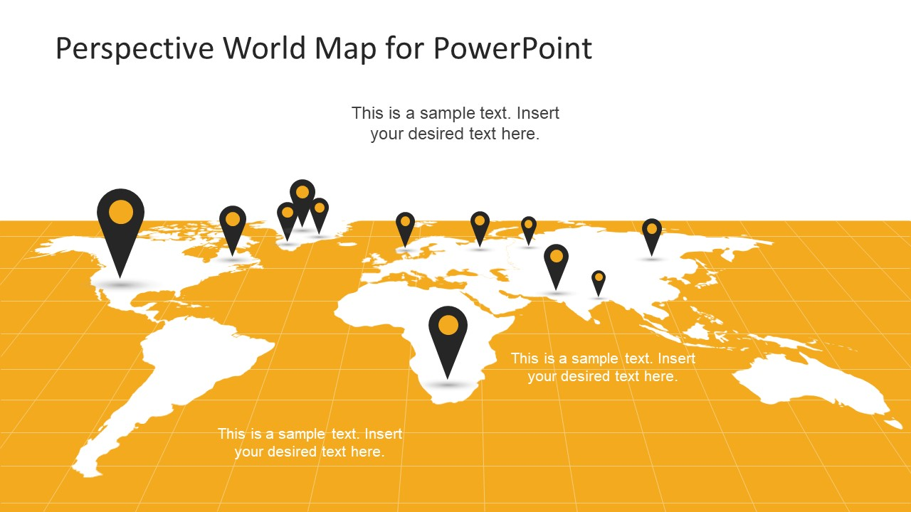 Perspective World Map for PowerPoint