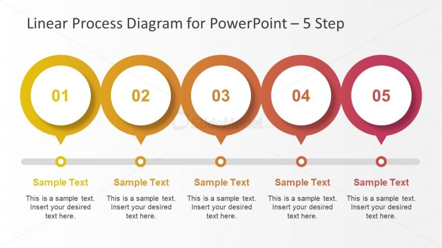 PowerPoint Slide of 5 Step Line