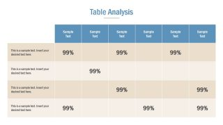 Slide of Table Chart for Competitive Analysis