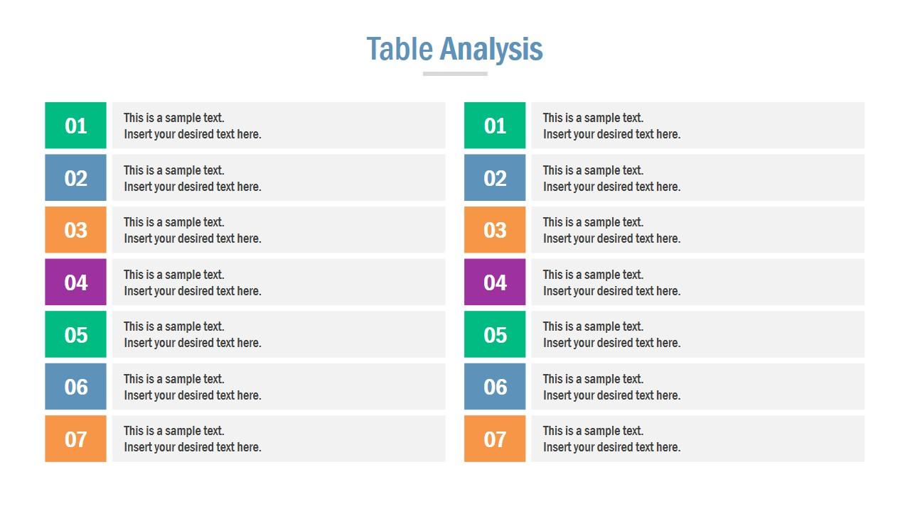 Comparison Table 7 Steps