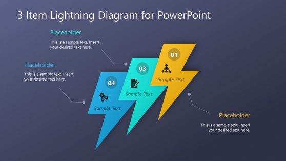 3 Steps Lightning Bolt Template