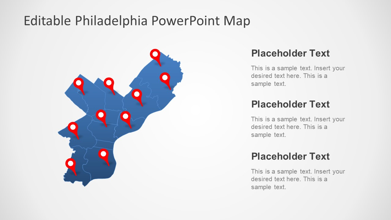 Editable Map of Philadelphia US State PPT