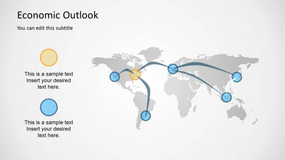 Global Economy Outlook Map for PowerPoint