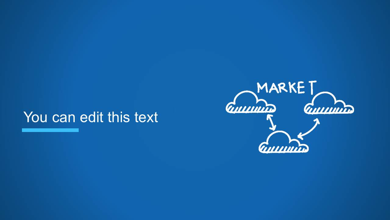 Clouds Diagram Slide Design with Market Word for PowerPoint