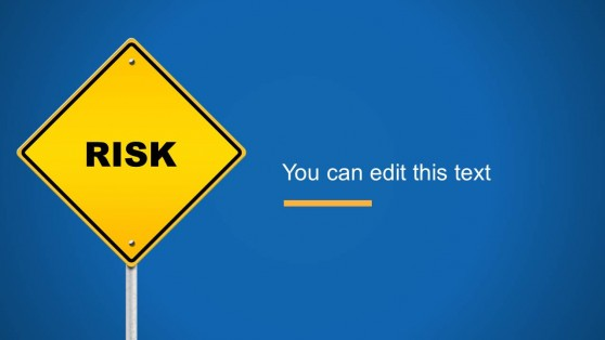 Yellow Risk Road Sign Slide Design for PowerPoint
