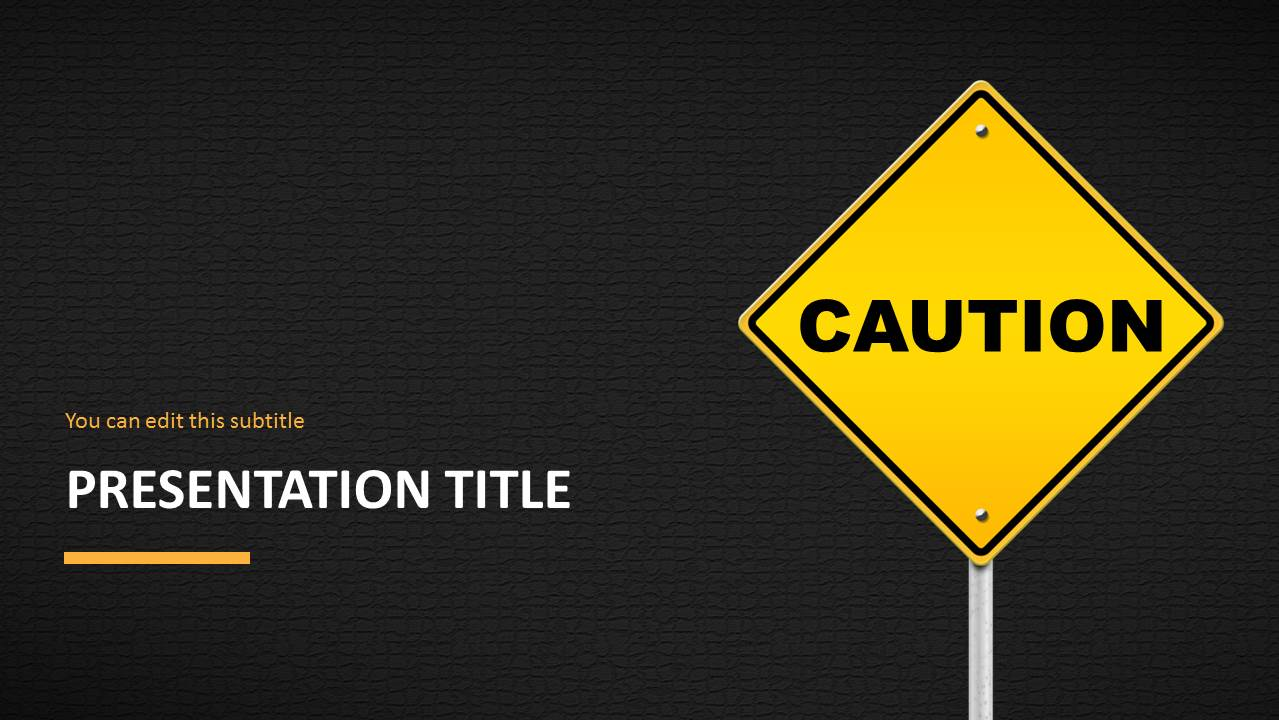 caution road sign powerpoint template
