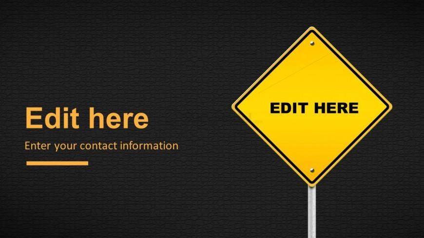 Editable Custom Road Traffic Sign for PowerPoint