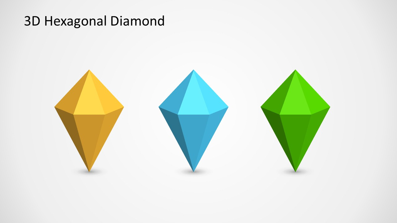 3D Hexagonal Diamond Shapes For PowerPoint