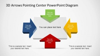 Four Colorful Arrows Pointing Center Grey Rectangle