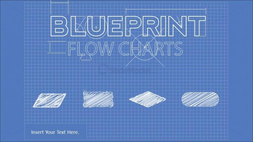 Amazing PowerPoint Blueprint Theme with Flowchart Elements