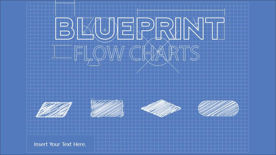 Amazing PowerPoint Blueprint Theme with Flowchart Elements