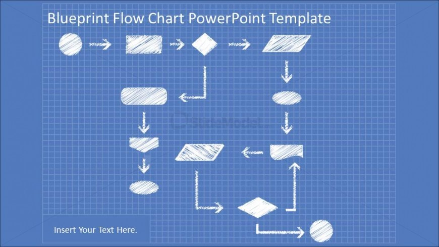 Hand draw flowchart in blueprint powerpoint theme slidemodel blueprint flowchart diagrams with powerpoint hand drawn shapes and connectors malvernweather Images