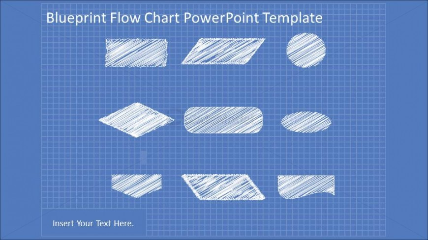 Hand Drawn Flowchart PowerPoint elements in blueprint background