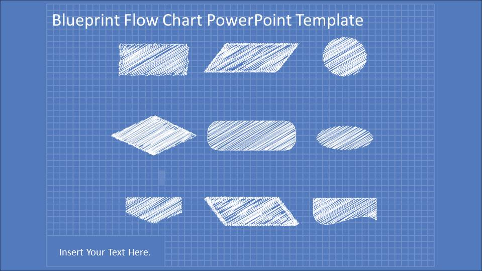 Blueprint flowchart powerpoint diagram slidemodel hand drawn flowchart powerpoint elements in blueprint background malvernweather Choice Image