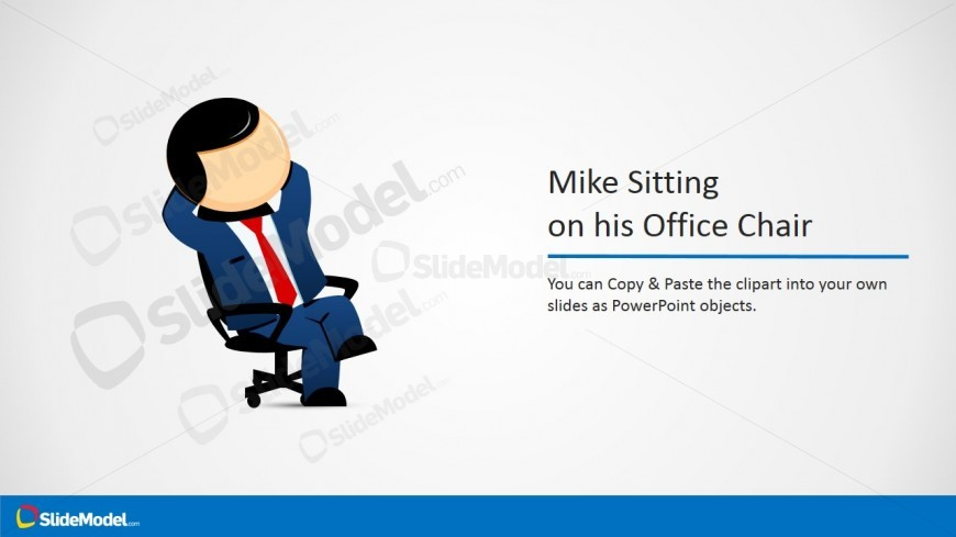 Mike Cartoon Character on his Office Chair Picture