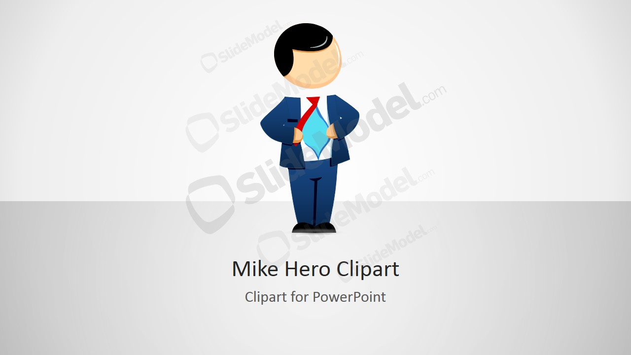 Male Cartoon Hero Illustration for PowerPoint