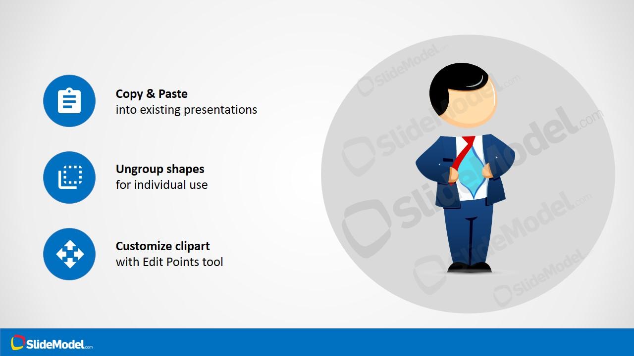 Hero Cartoon Character Design for PowerPoint