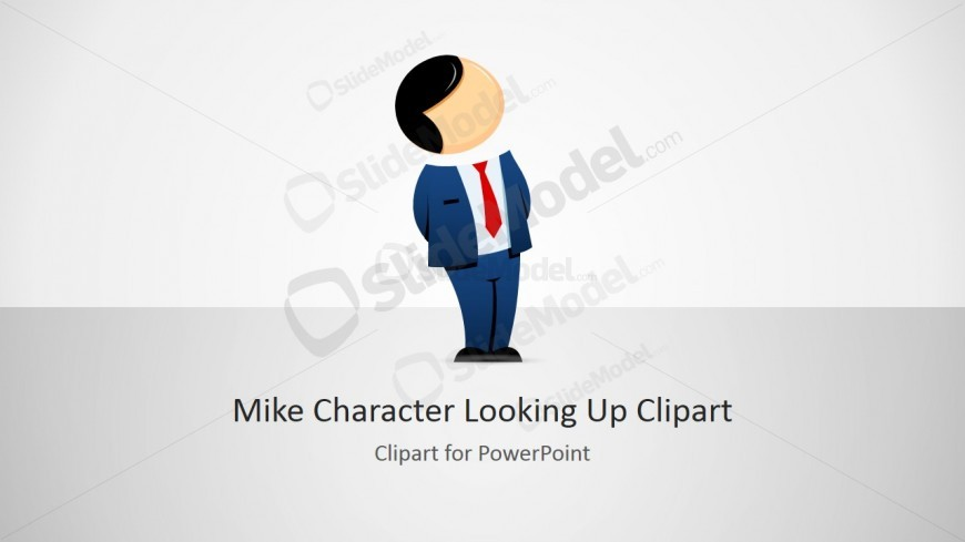 Male Businessman Cartoon Looking Up and Hands Behind Back