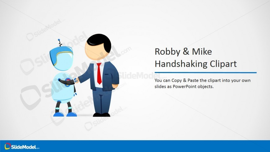 Robby and Mike clipart cartoons shaking hands to represent collaboration metaphor for PowerPoint